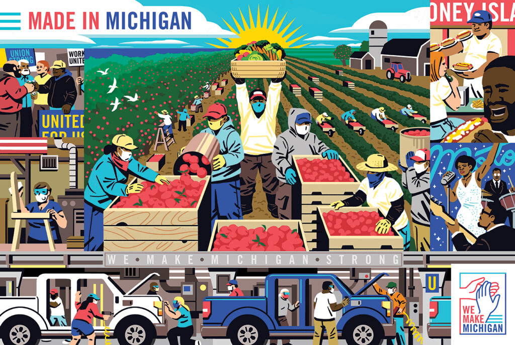 Illustration of farmworkers, factory workers, musicians, and protestors.